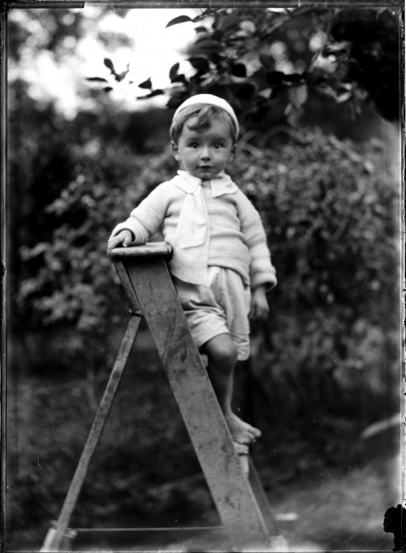 portrait-of-small-barefoot-boy-on-a-wooden-ladder Powerhouse Museum Collection